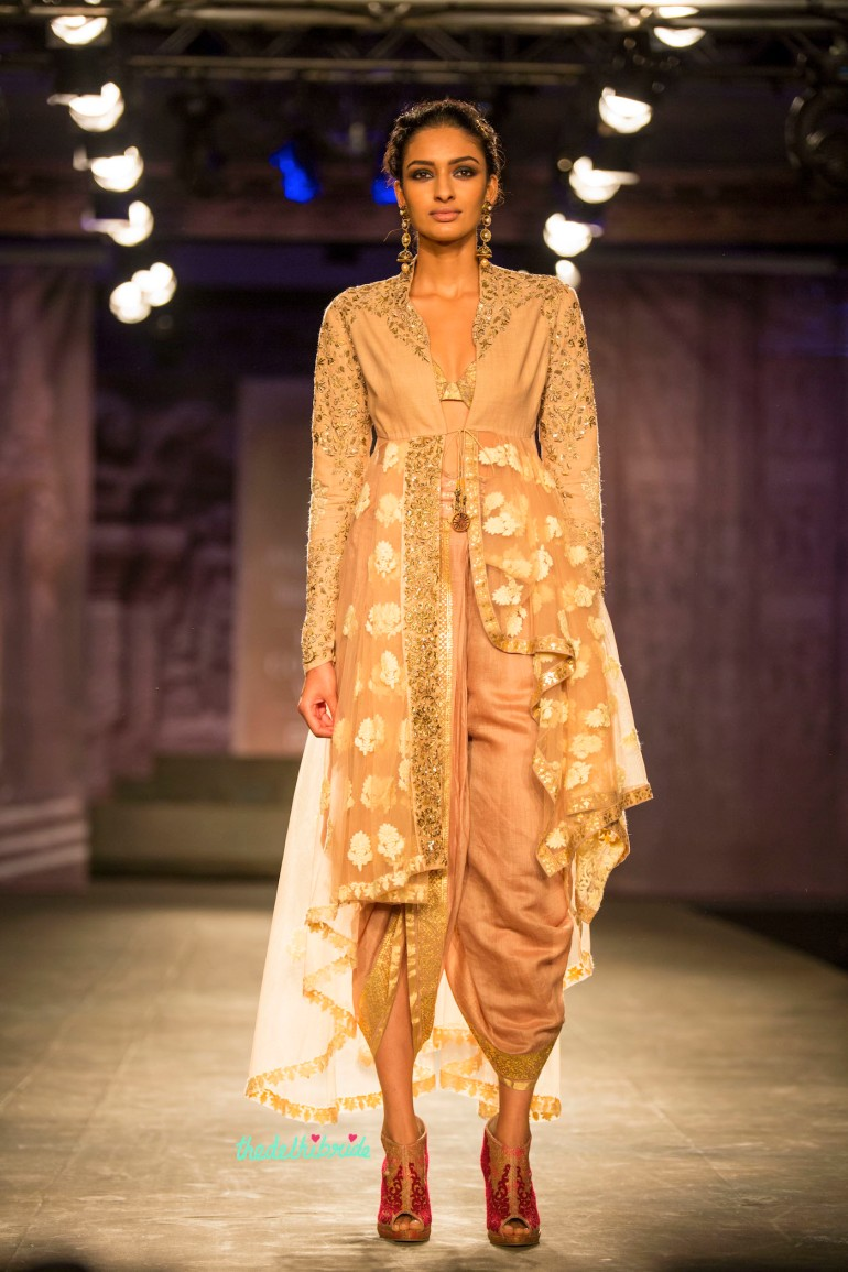 Dhoti layered jacket nude and gold 1 Anju Modi India Couture Week 2014