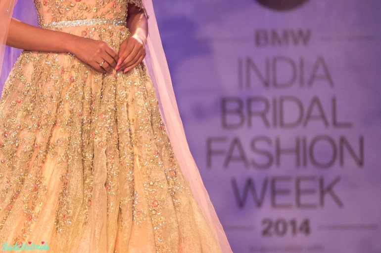 embroidery details on Esha Gupta luxurious bridal gown Jyotsna Tiwari India Bridal Fashion Week 2014