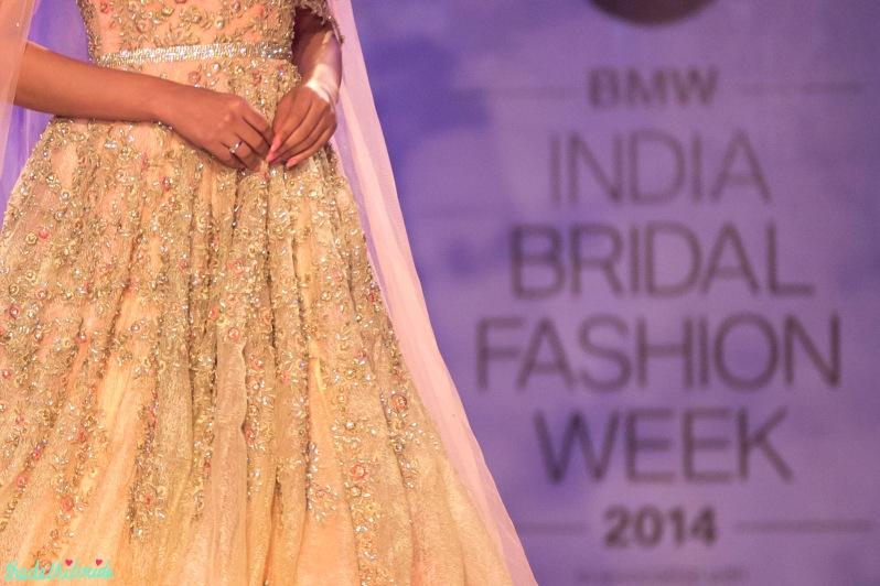 embroidery details on Esha Gupta luxurious bridal gown Jyotsna Tiwari India Bridal Fashion Week 2014