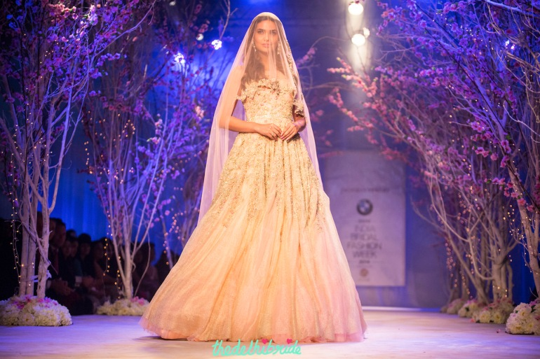 Esha Gupta Christian bride gown with veil Jyotsna Tiwari India Bridal Fashion Week 2014