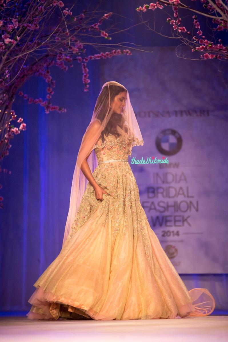 Esha Gupta Christian bride with veil luxurious pastel gown Jyotsna Tiwari India Bridal Fashion Week 2014
