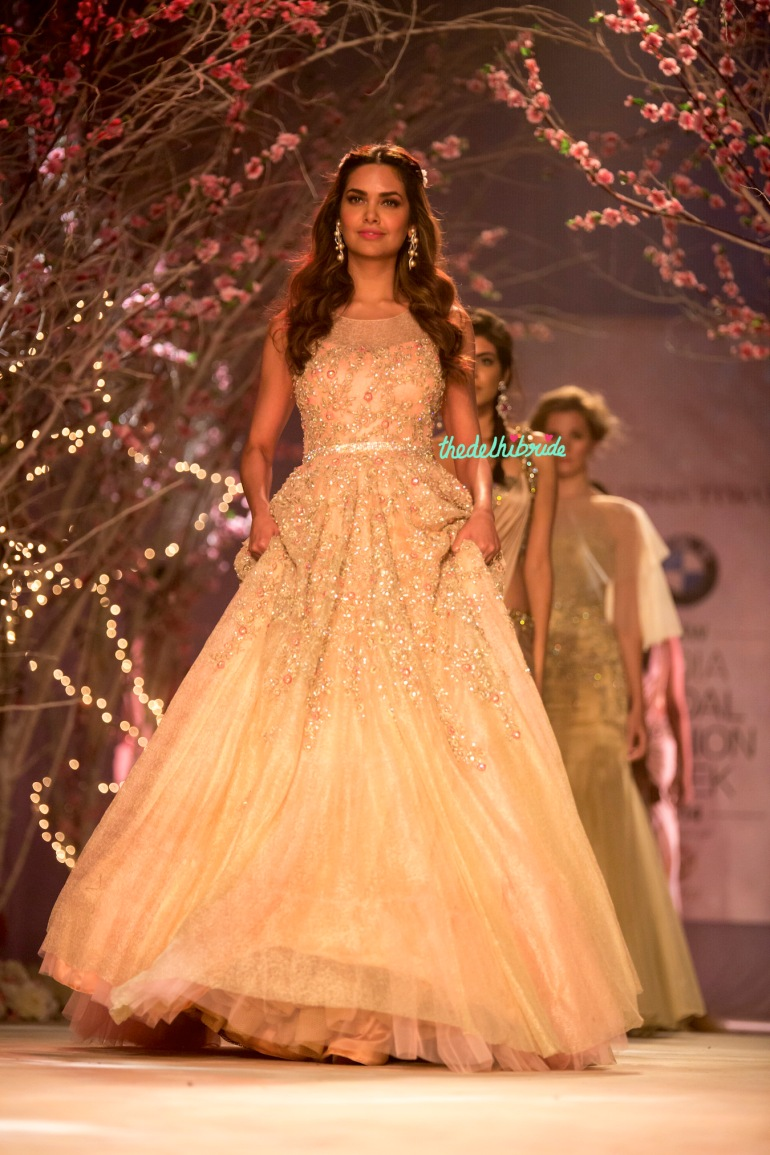Esha Gupta christian wedding gown Jyotsna Tiwari India Bridal Fashion Week 2014