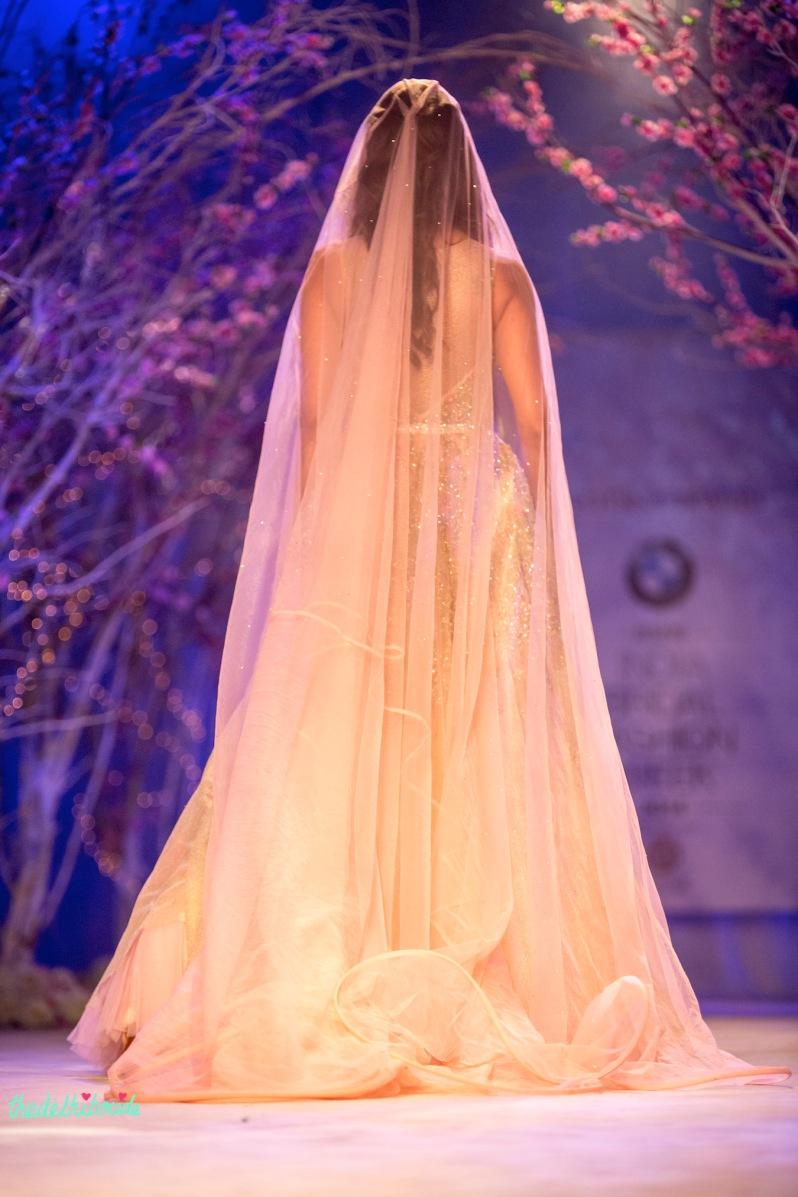 Esha Gupta pastel luxurious bridal gown Jyotsna Tiwari India Bridal Fashion Week 2014