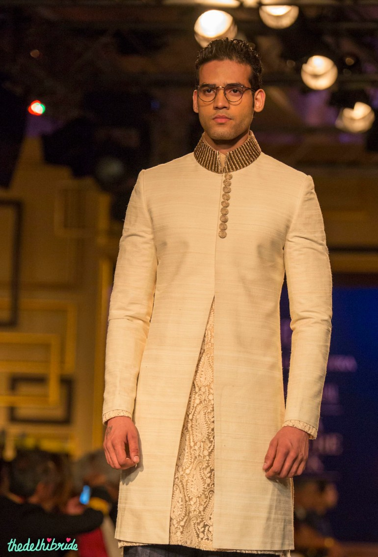 For men - Ivory sherwani jacket Manish Malhotra India Couture Week 2014