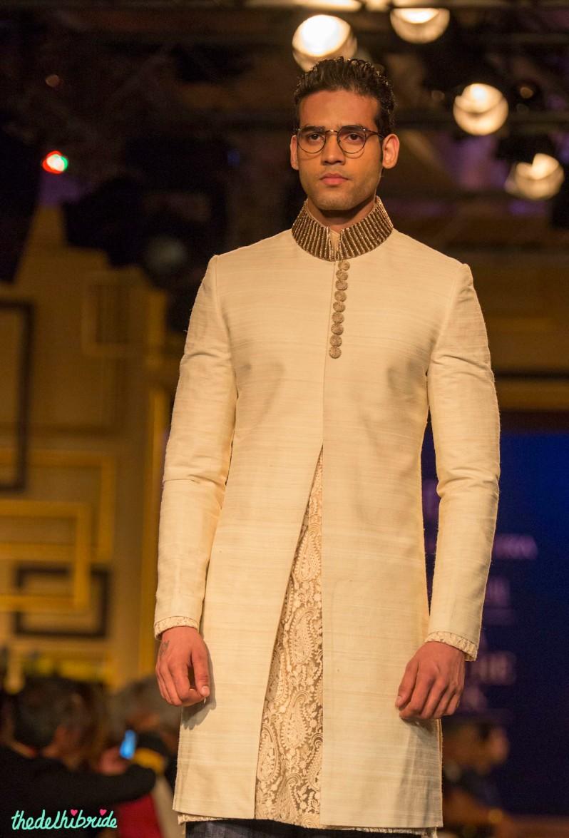 For men - Ivory sherwani jacket Manish Malhotra India Couture Week 2014