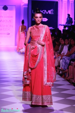 fuchsia pink lehenga with stomach covering blouse Anita Dongre Lakme Fashion Week 2014