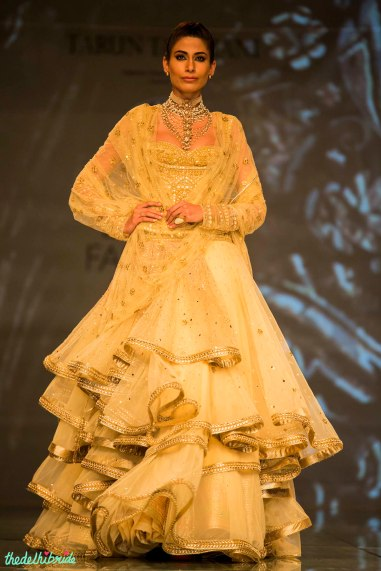 gold anarkali with multiple layers 1 Tarun Tahiliani India Bridal Fashion Week 2014