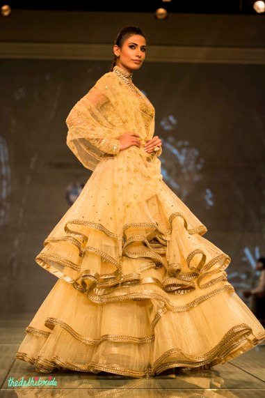 gold anarkali with multiple layers 2 Tarun Tahiliani India Bridal Fashion Week 2014