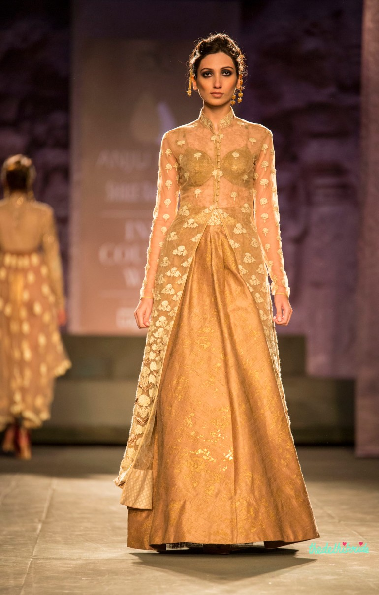 Gold and ivory sheer jacket lehenga Anju Modi India Couture Week 2014 front