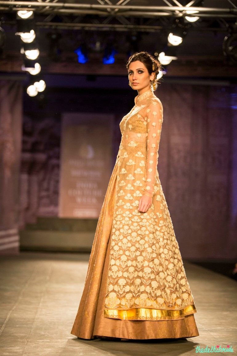 Gold and ivory sheer jacket lehenga Anju Modi India Couture Week 2014 profile