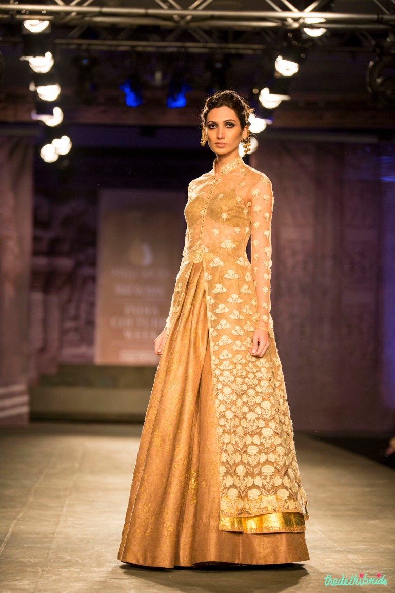 Gold and ivory sheer jacket lehenga Anju Modi India Couture Week 2014 side