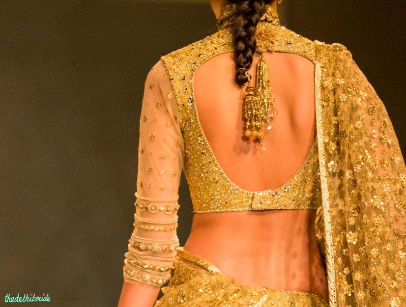 gold blouse Tarun Tahiliani India Bridal Fashion Week 2014