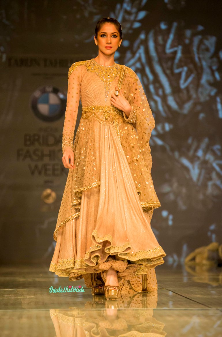 gold layered anarkali 1 Tarun Tahiliani India Bridal Fashion Week 2014