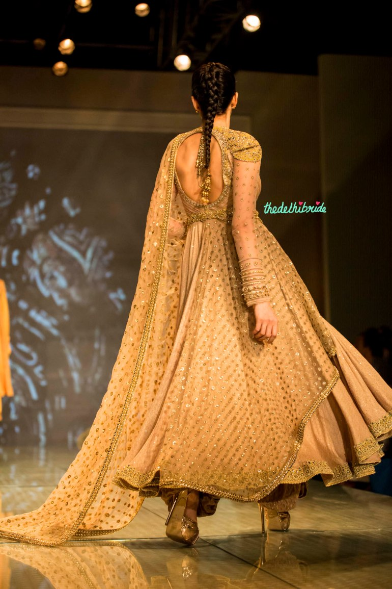 gold layered anarkali 2 Tarun Tahiliani India Bridal Fashion Week 2014