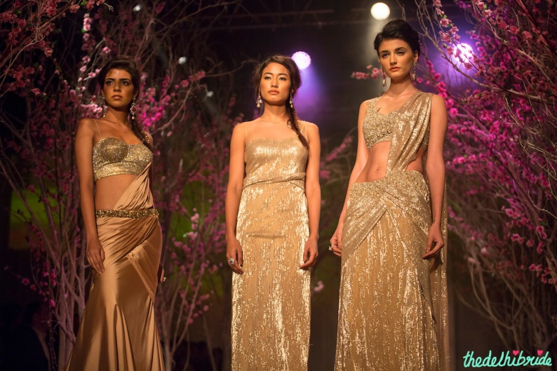 Gold pre-plated saris and gown