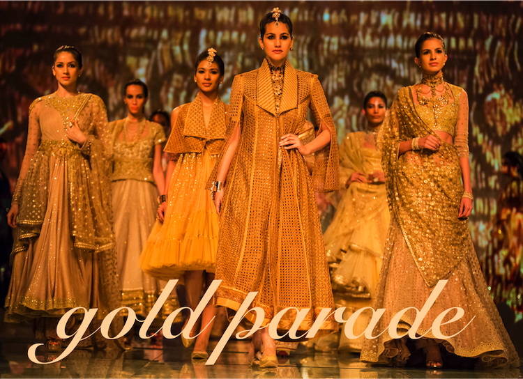 gold trousseau Tarun Tahiliani India Bridal Fashion Week 2014