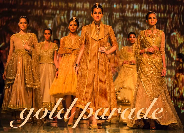 gold trousseau Tarun Tahiliani India Bridal Fashion Week 2014