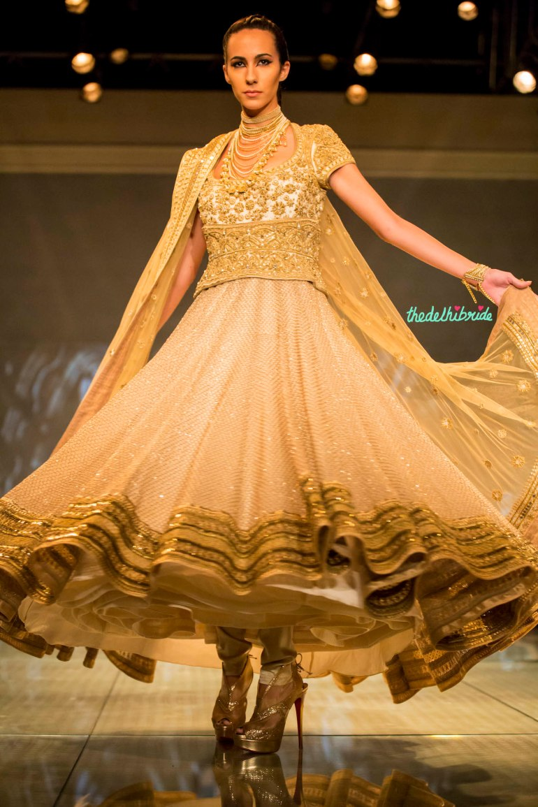 gorgeous gold anarakli 2 Tarun Tahiliani India Bridal Fashion Week 2014