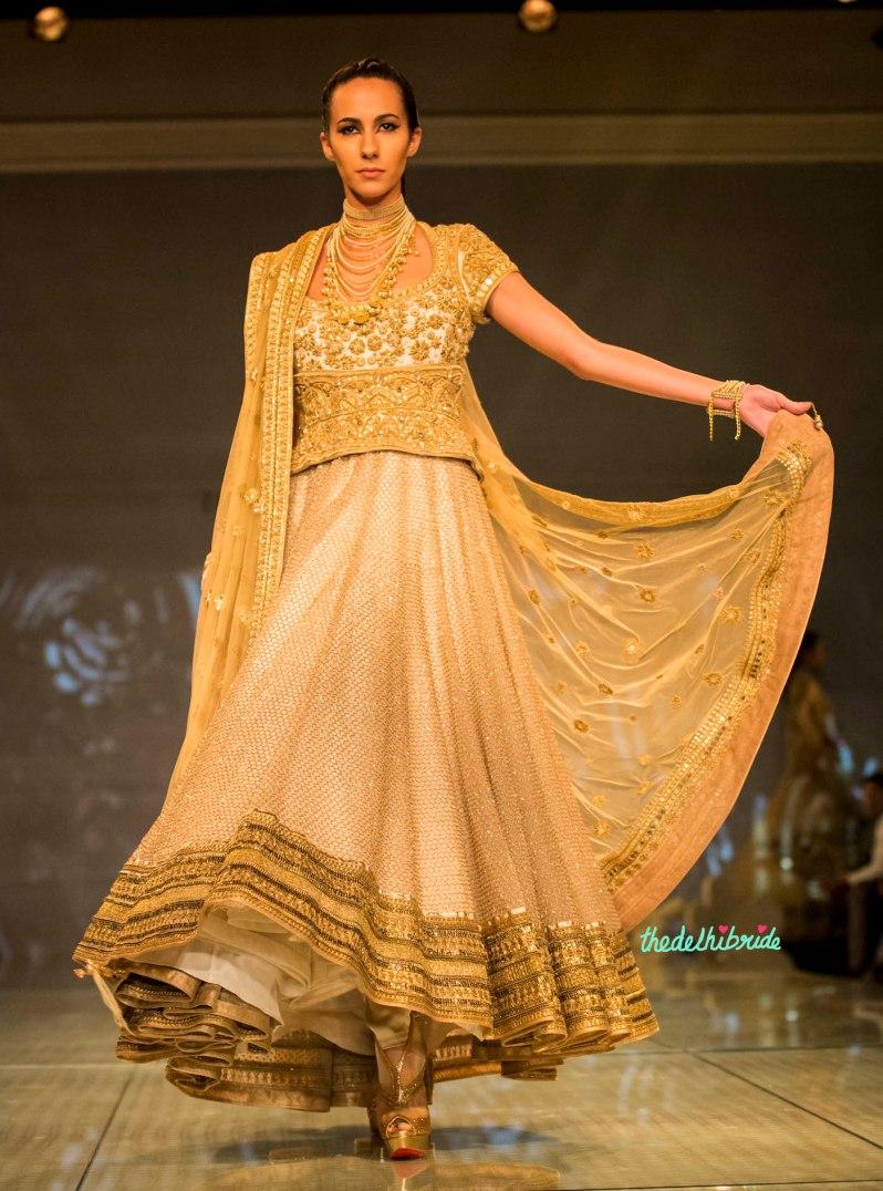 gorgeous gold anarkali 1 Tarun Tahiliani India Bridal Fashion Week 2014
