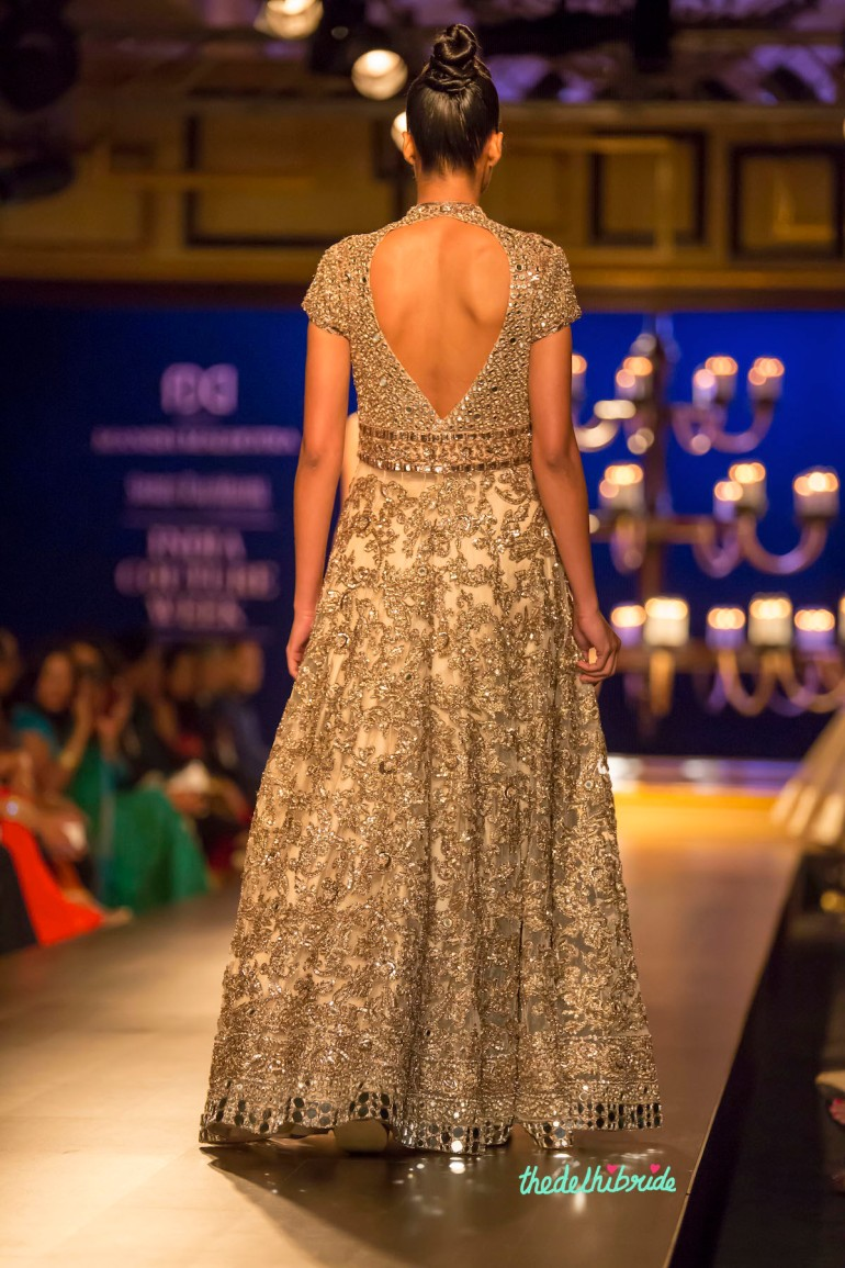 Ivory silver anarkali back Manish Malhotra India Couture Week 2014