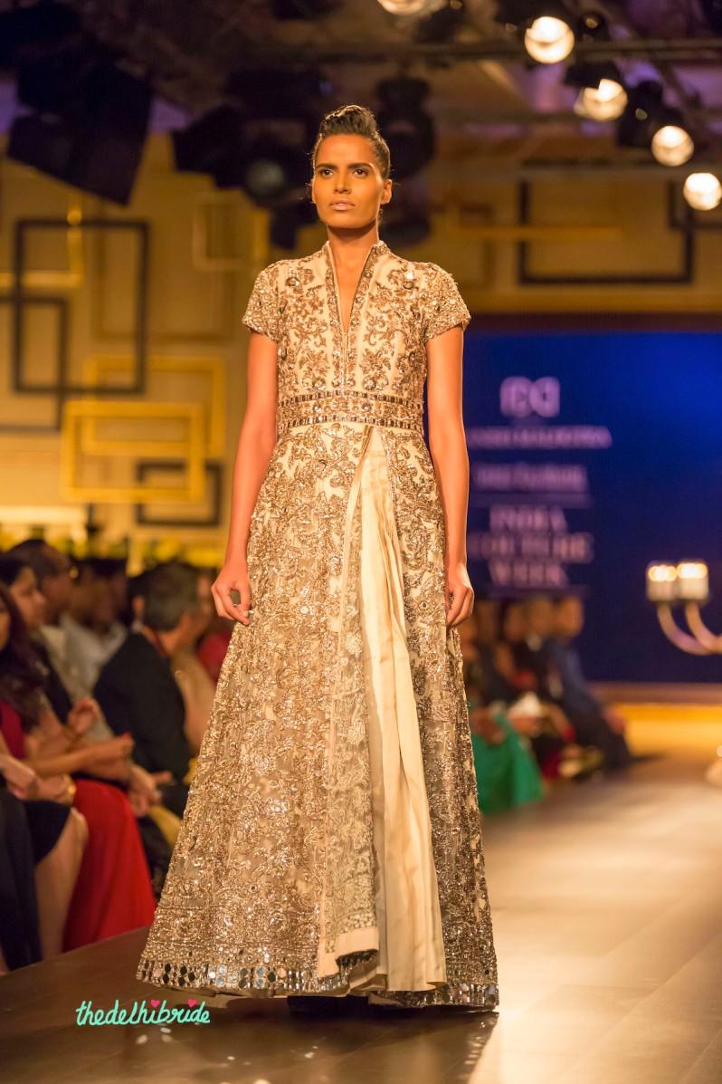 Ivory silver anarkali front Manish Malhotra India Couture Week 2014