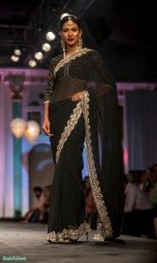 Midnight black mukesh work sari