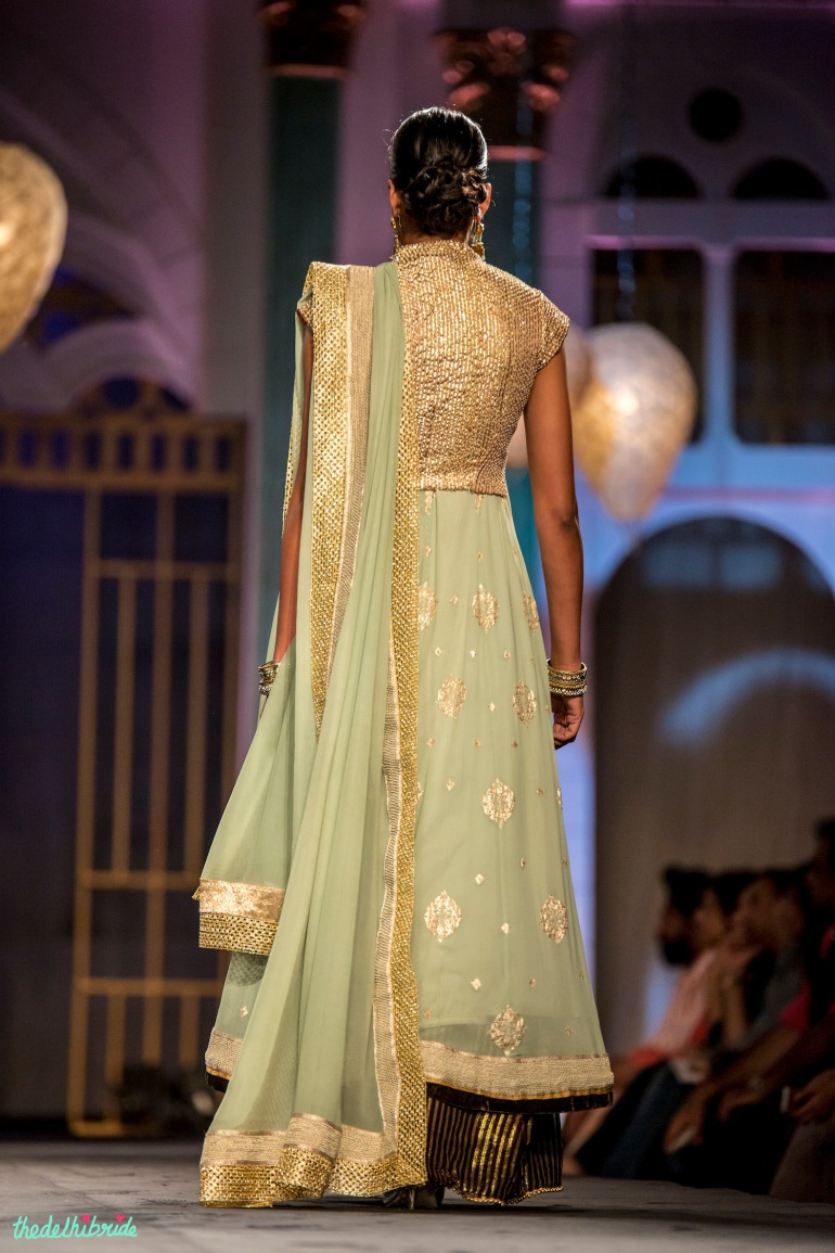 Mint and gold anarkali back Meera & Muzaffar Ali India Bridal Fashion Week 2014