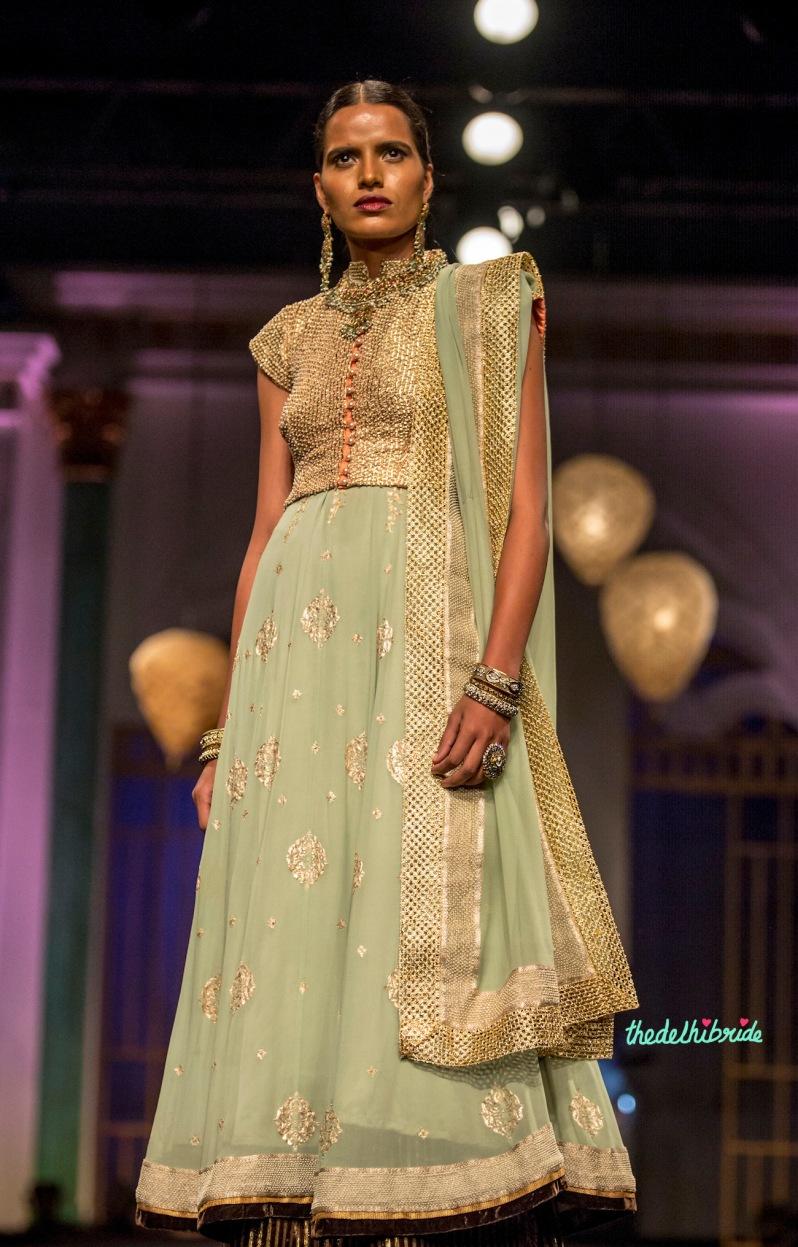 Mint and gold anarkali Meera & Muzaffar Ali India Bridal Fashion Week 2014