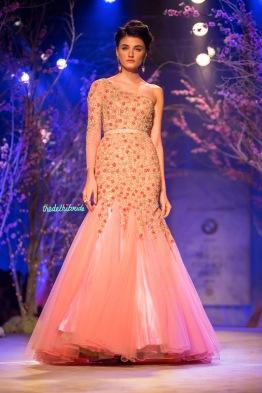 Off shoulder pink gown