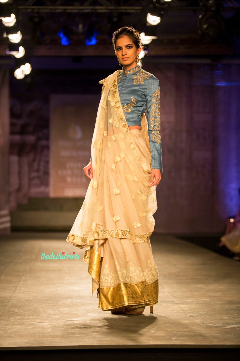 Off white sari blue full sleeve blouse Anju Modi India Couture Week 2014