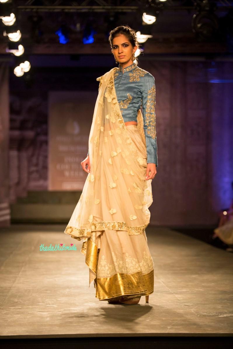 Off white sari blue full sleeve blouse Anju Modi India Couture Week 2014