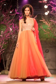 Orange net anarkali