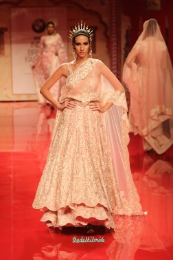 Chantilly lace soft pink jacket lehenga