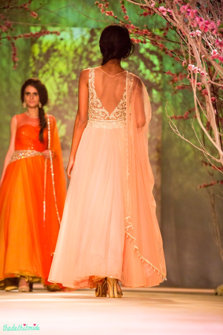 Pastel pink anarkali back Jyotsna Tiwari India Bridal Fashion Week 2014