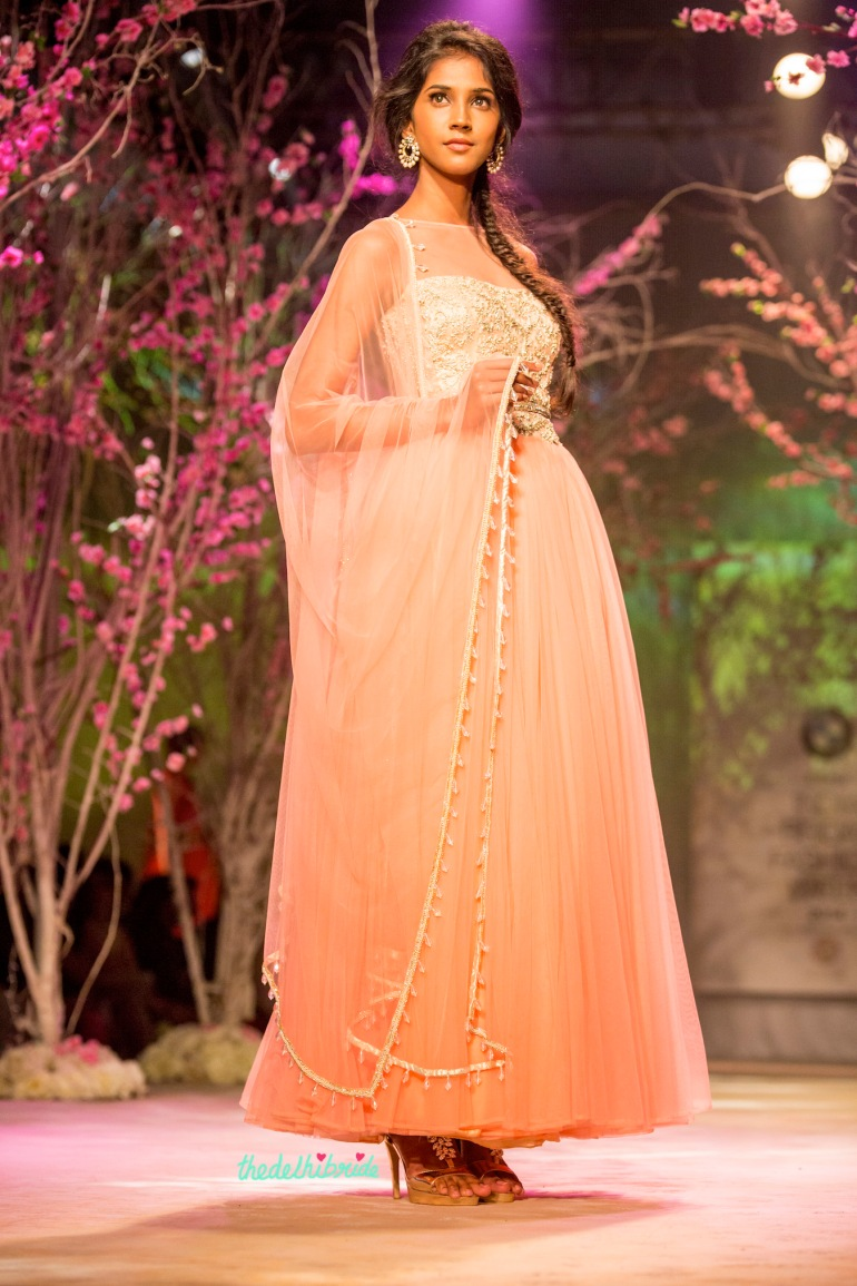 Pastel pink anarkali Jyotsna Tiwari India Bridal Fashion Week 2014
