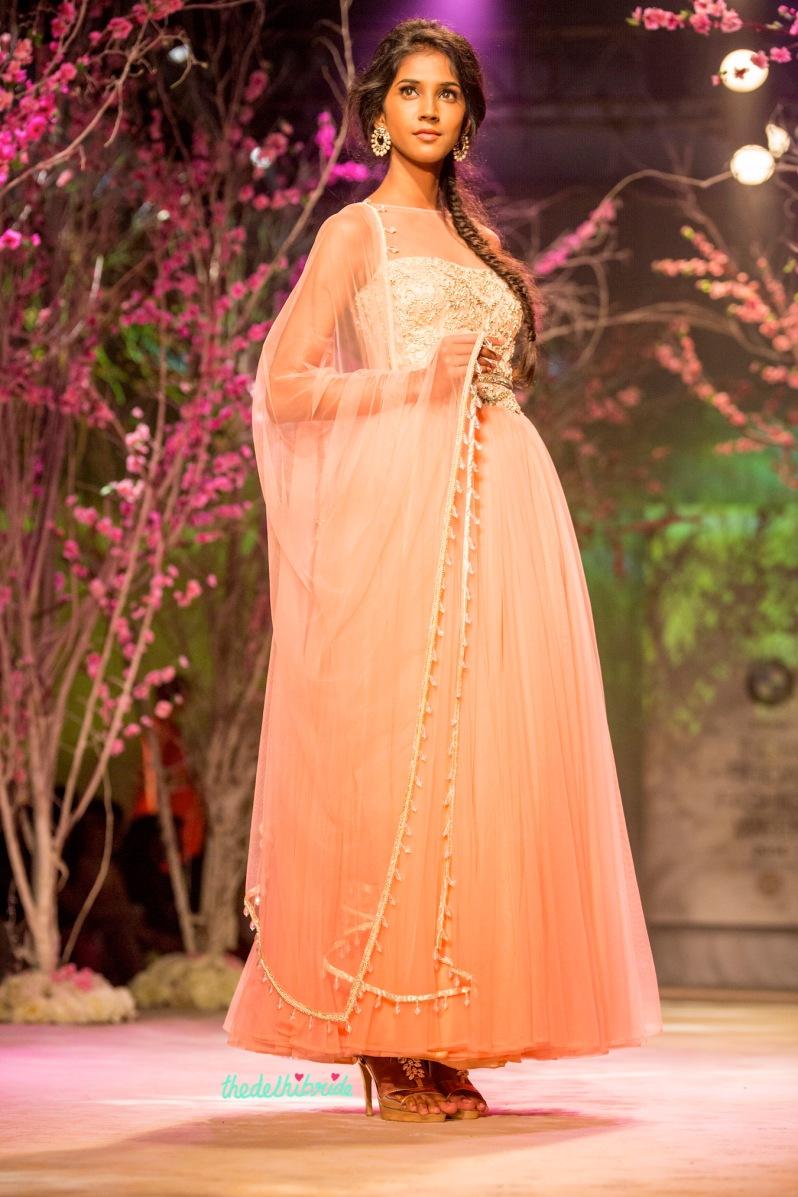 Pastel pink anarkali Jyotsna Tiwari India Bridal Fashion Week 2014