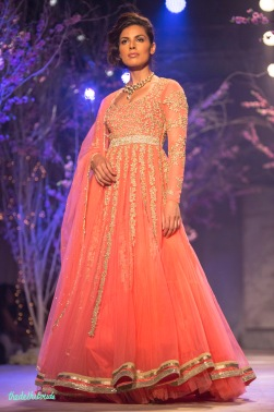 Pink floor length anarkali