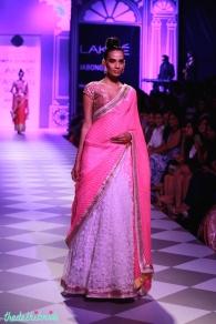 pink gota patti blouse with white lehenga and leheriya dupatta Anita Dongre Lakme Fashion Week 2014