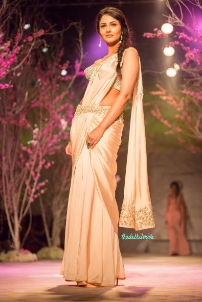 Pre-pleated sari in pastel pink