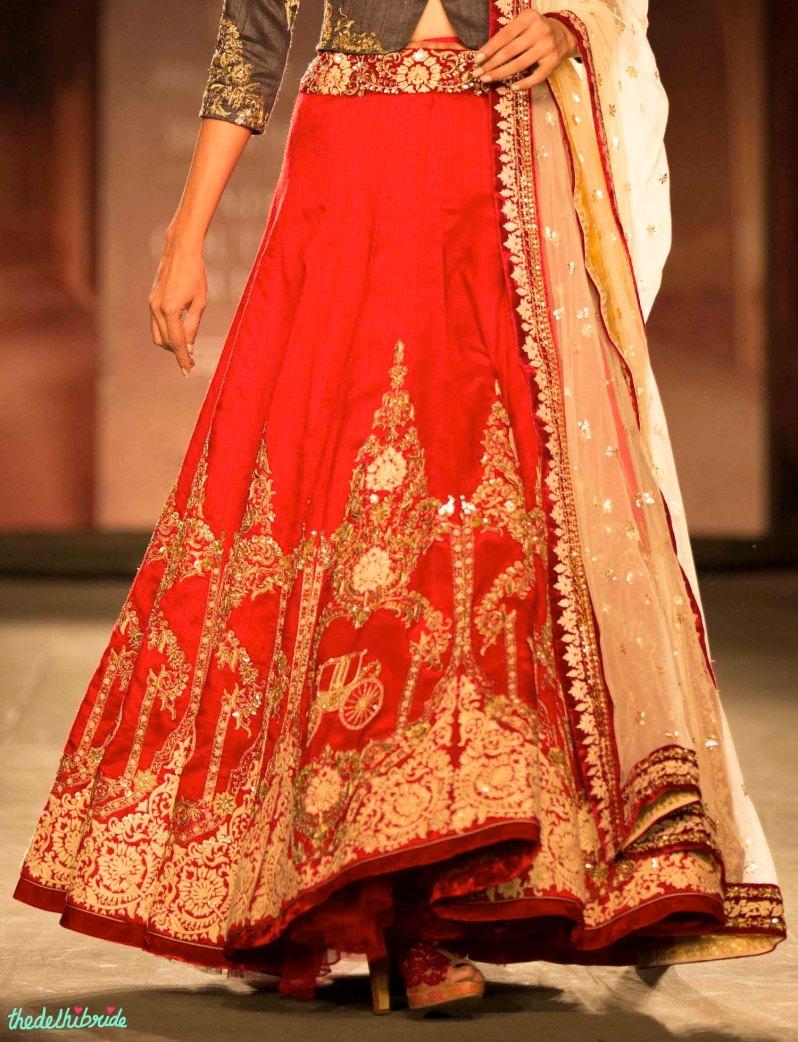 Red carriage motif lehenga Anju Modi India Couture Week 2014 front
