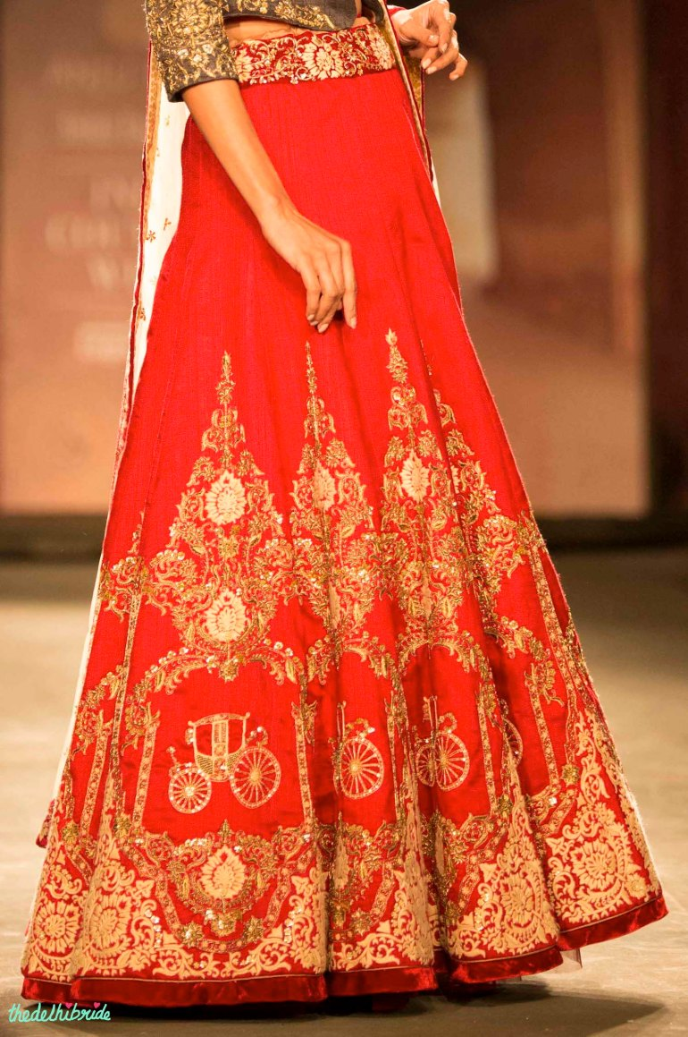 Red carriage motif lehenga Anju Modi India Couture Week 2014 side