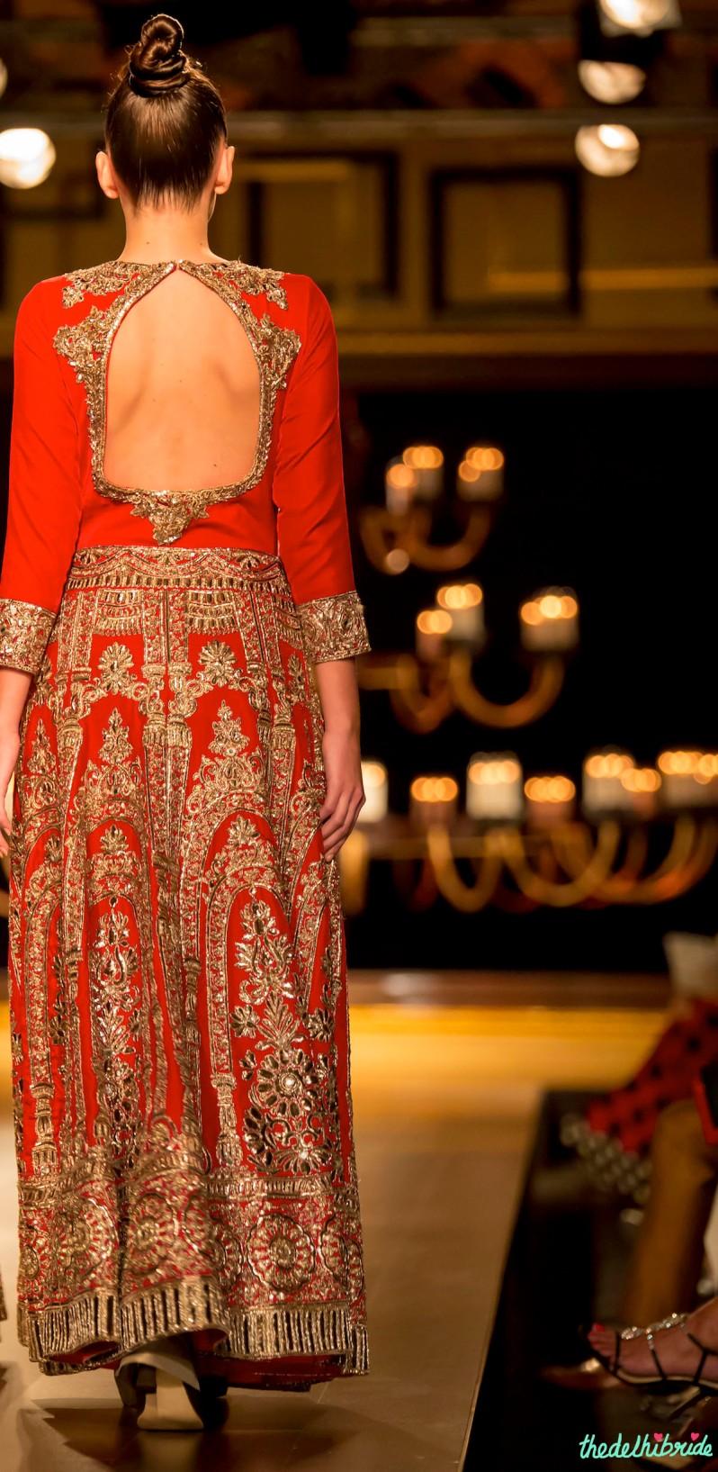 Red gold anarkali back Manish Malhotra India Couture Week 2014