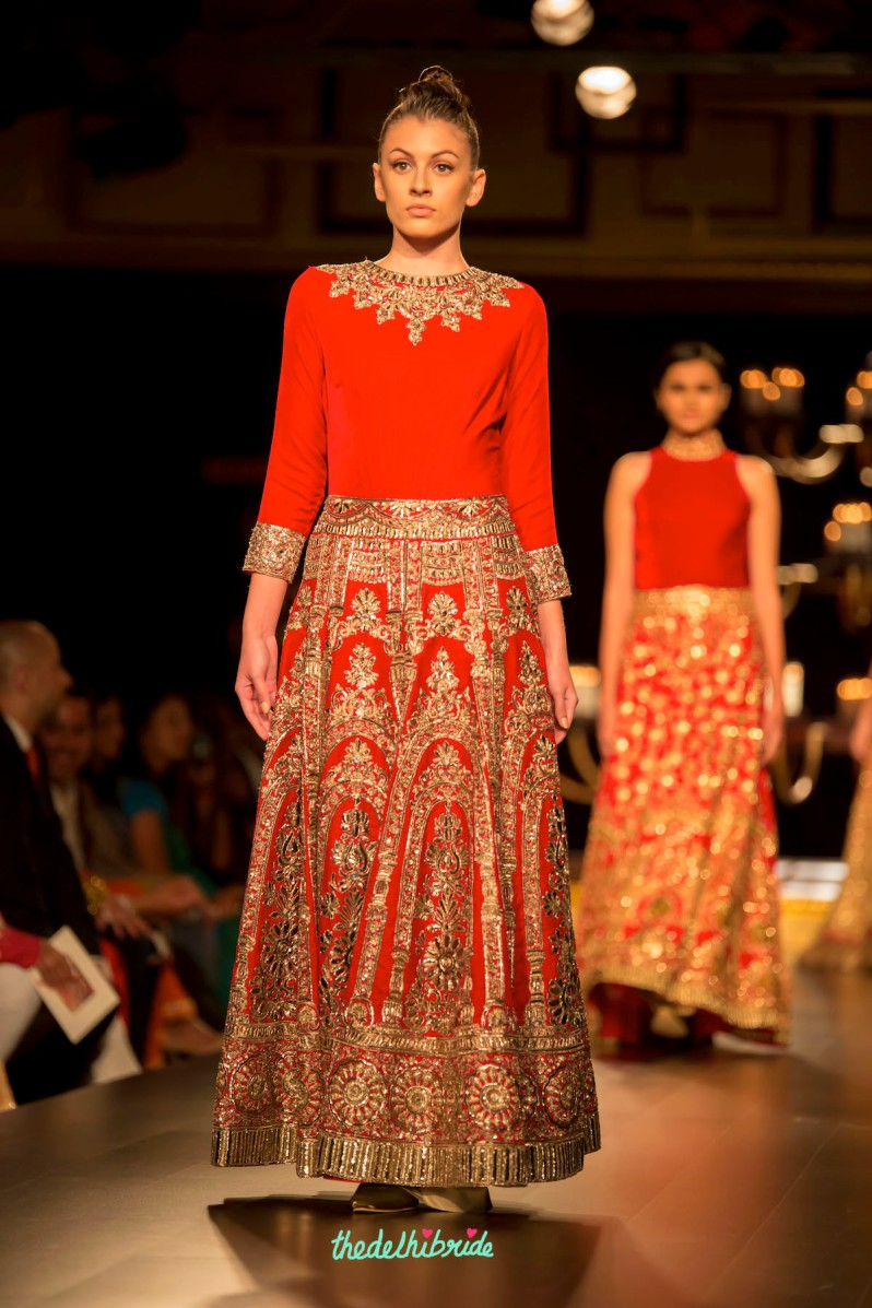 Red gold anarkali front Manish Malhotra India Couture Week 2014