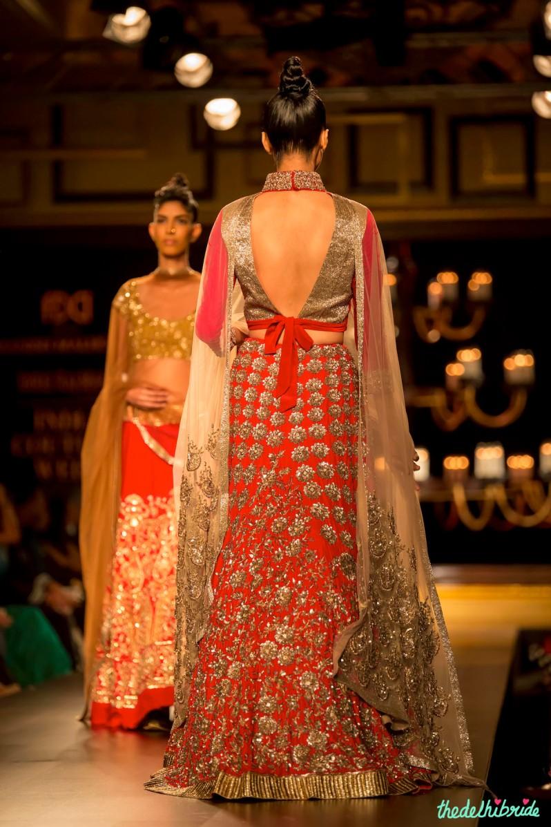 Red gold lehenga back Manish Malhotra India Couture Week 2014