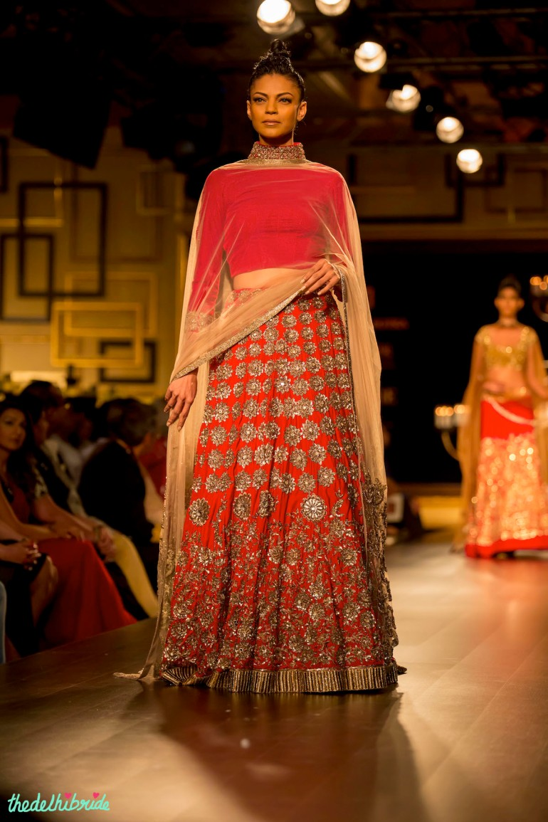 Red gold lehenga front Manish Malhotra India Couture Week 2014