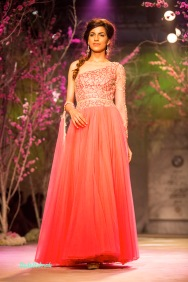 Red net off shoulder anarkali