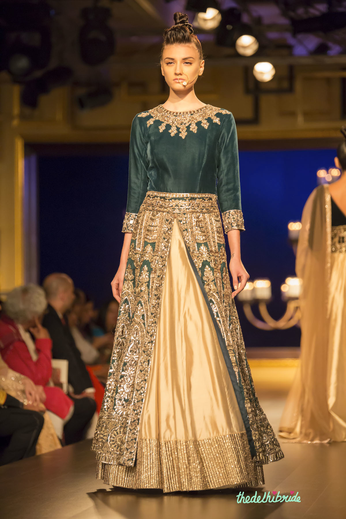 61a99072512 Royal green jacket lehenga front Manish Malhotra India Couture Week 2014