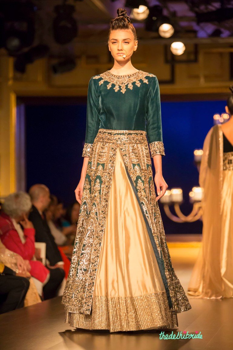 Royal green jacket lehenga front Manish Malhotra India Couture Week 2014