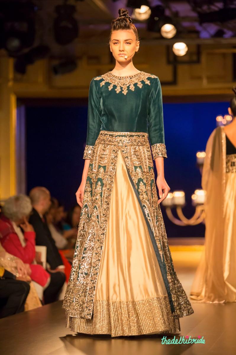 Royal green jacket lehenga front Manish Malhotra India Couture Week 2014
