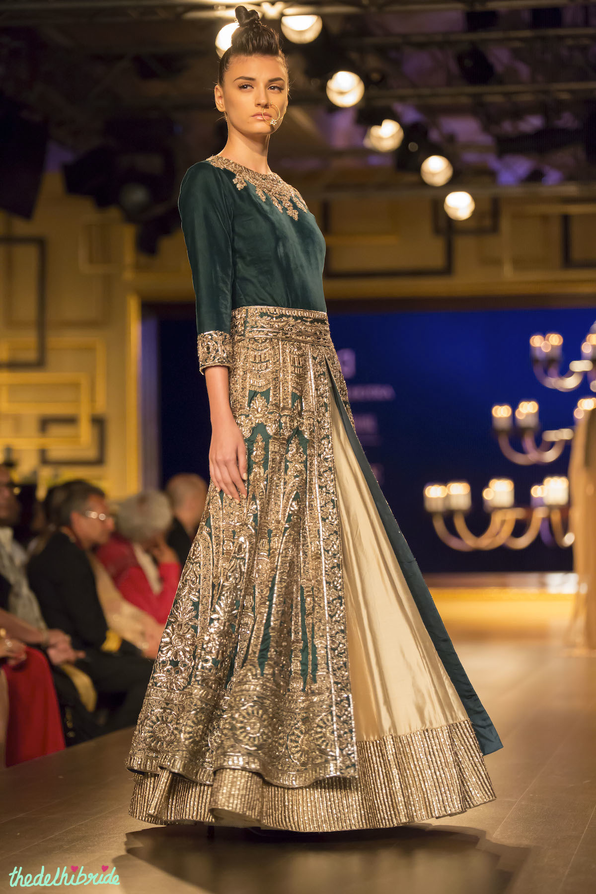 5757887d74c Royal green jacket lehenga side Manish Malhotra India Couture Week 2014
